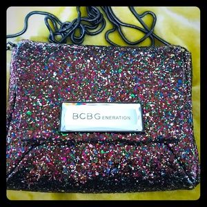 BCBG Pink Sparkle Party Purse w/strap